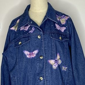 Quacker Factory Jean Denim Jacket Womens M Blue